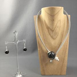 Collier Câble Noir - Blanc Design RAKU  Céram
