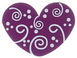 Motivperle, Herz purpur mit Schnörkel 3 cm