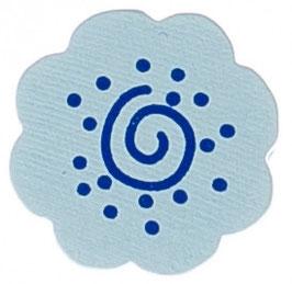 Motivperle, Blume blau mit Schnörkel