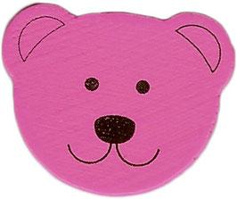 Motivperle, Bärenkopf pink 1,8 cm