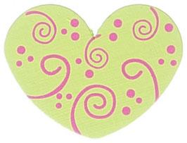 Motivperle, Herz lemon mit Schnörkel 3 cm
