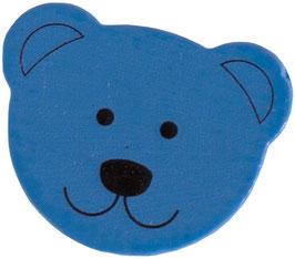 Motivperle, Bärenkopf blau 1,8 cm
