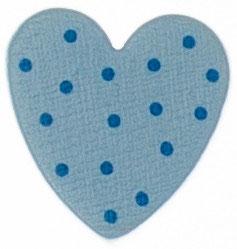 Motivperle, Herz hellblau mit Punkten 2cm