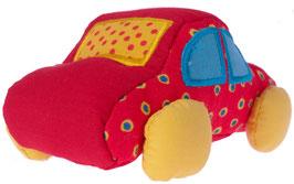 rotes Fahrzeug mit Knisterfolie und Quitscher