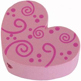 Motivperle, Herz rosa mit Schnörkel 3 cm