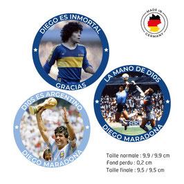 3 Autocollants Diego Armando Maradona rond, 9,5 cm, papier adhésif 80g/m², mat