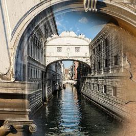 Blick in den Kanal | Echtes Leinenbild