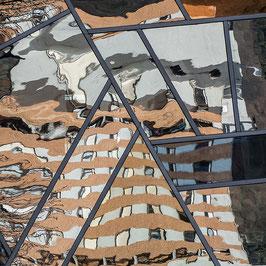 2 Dreiecke in der Stadt | Echtes Leinenbild