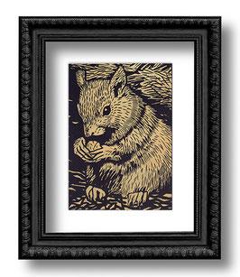 .Eichhörnchen Linoldruck.