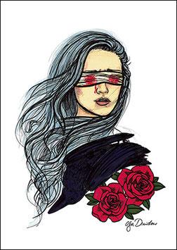 .Ferme les yeux à la mort Postkarte.
