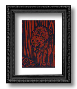 .Wolf Linoldruck.