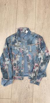 Wendejeans Jacke mit Blumendruck, verschiedene Größen S,M, L, XXL Farben: jeansblau