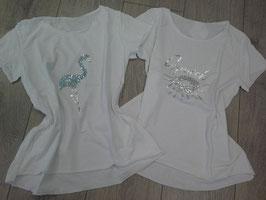 *** NEU ***  T-Shirt  weiß mit Glitzerdruck, Größe: onesize