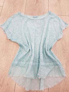 **NEU** Bluse in Leinenoptik hinten Shirtstoff in türkis, onesize bis Grösse 42
