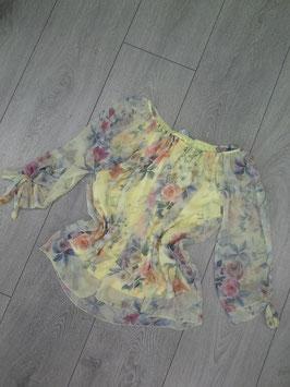 Bluse mit Blumenmuster, transparente Ärmel, Größe: onesize, gemustert-gelb, gemustert-weiß