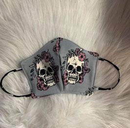 Maske Skulls and Purple Flowers