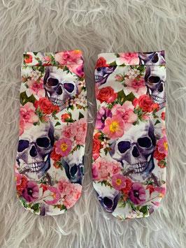 Sneakers Socken Skulls and Wild Flowers