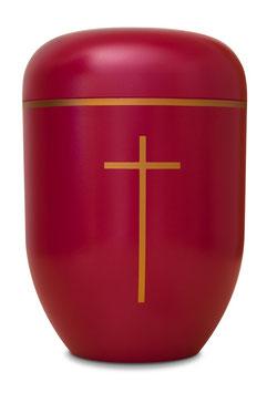 B1-1-3 GB-KR Bio-Urne rot, Kreuz und Goldband