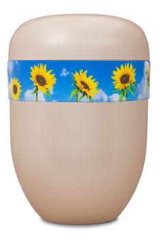 B1-0-5 Bio-Urne weiss, Sonnenblumen