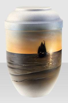 """10-714 Bio-Urne """"Schiff im Sonnenuntergang"""""""