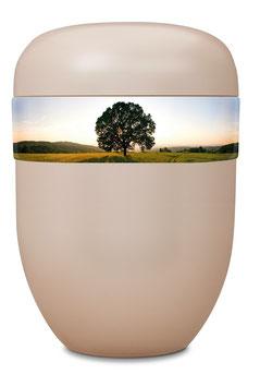 B1-0-3 Bio-Urne weiss, Baum/Landschaft
