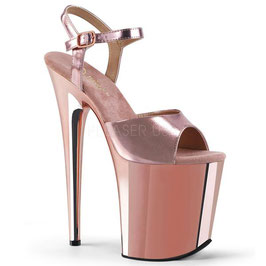"FLAMINGO-Pleaser High-Heels Sandaletten ""Rosegold Metallic Chrom"""