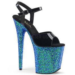 "Pleaser FLAMINGO High-Heels Sandaletten ""Schwarz Lack / Blau Multiglitter"""