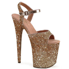 "FLAMINGO-Pleaser High-Heels Sandaletten ""Gold Glitzer rundum"""
