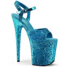 """Pleaser FLAMINGO High-Heels Sandaletten """"Aqua Blau mit Glitzer rundum"""""""