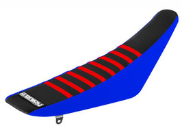 Sitzbankbezug Yamaha Black Top - Blue Sides - Red Ribs