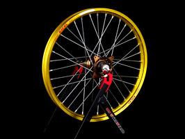 Radsatz Suzuki ► Excel Felge Gelb | Kite Nabe Bronze | Speichen Silber | Nippel Silber