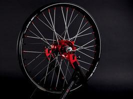 Radsatz Honda ► Excel Felge Schwarz | Kite Nabe Rot | Speichen Silber | Nippel Rot