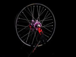 Radsatz KTM ► Excel Felge Schwarz | Kite Nabe Lila | Speichen Silber | Nippel Silber
