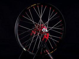 Radsatz Honda ► Excel Felge Schwarz | Nabe Rot | Speichen Silber | Nippel Rot