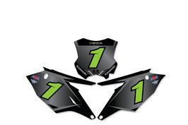 Numberplates Kawasaki Monster Energy Matte Black mit eurer eigenen Startnummer