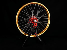Radsatz Honda ► Excel Felge Gold   Kite Nabe Rot   Speichen Silber   Nippel Silber