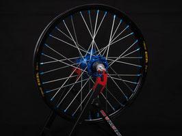 Radsatz Kawasaki ► Excel Felge Schwarz | Kite Nabe Blau | Speichen Silber | Nippel Blau