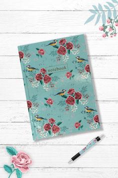 """Notizbuch """"Rosen  und Meise"""""""