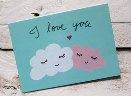 """Postkarte """"I love you"""" mit den sich liebenden Wolken"""