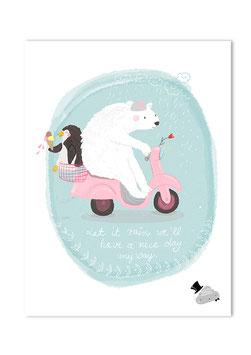 Poster Eisbär auf Roller mit Pingu Freund