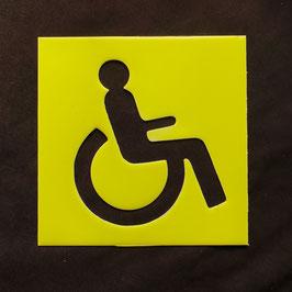 Rollstuhl Schild Gelb leuchtet nachts