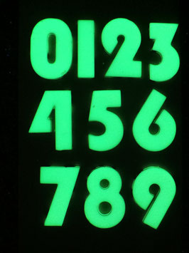 Hausnummer (mit Bohrung) leuchtet im Dunkeln