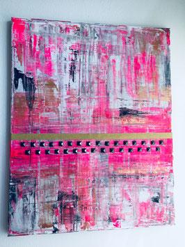 """Margit Anglmaier: Nieten Kunst Special """"Pink mal schwarz genietet"""""""