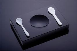 Kaviarset aus Schwarzglas