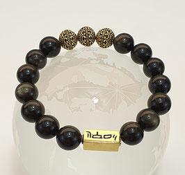 Herren Armband Gold Obsidian 19 cm