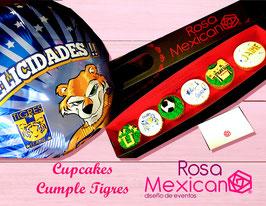 6 cupcakes de tigres con globo