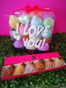 Peluches Varios y caja con 6 fresas