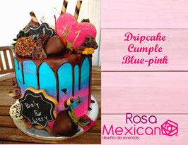 Dripcake de amor Blue Pink Galletas un corazón y dos letreros