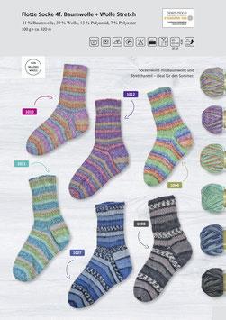 Rellana Flotte Socke 4fach Baumwolle + Wolle Stretch