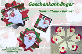Geschenkanhänger Santa Claus - 6er Set